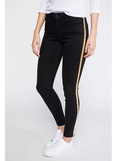DeFacto Agata Super Skinny Yanları Şerit Detaylı Denim Pantolon Siyah